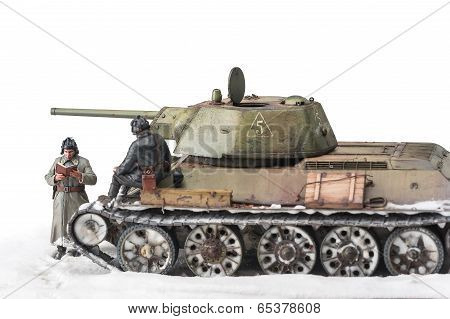 Miniature with old soviet t 34 tank