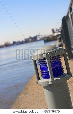 Blue marine warning light
