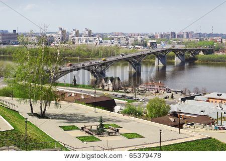 Nizhny Novgorod, Russia - May 1, 2014: The Oldest Bridge In The City. Built In The Thirties Over The