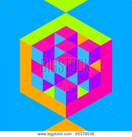 Hexagon shape with cubes inscribed. Vector illustration of 3d background.