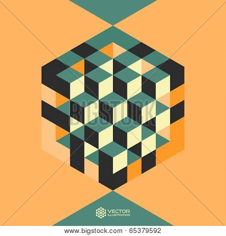 Hexagon shape with cubes inscribed. Vector illustration of 3d background.  Can be used for business concepts.
