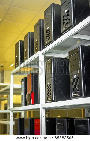 Modern computer cases in a data center