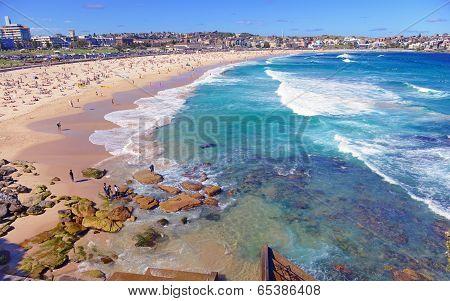 Summer Beach Scene Along Ocean, Sydney Australia