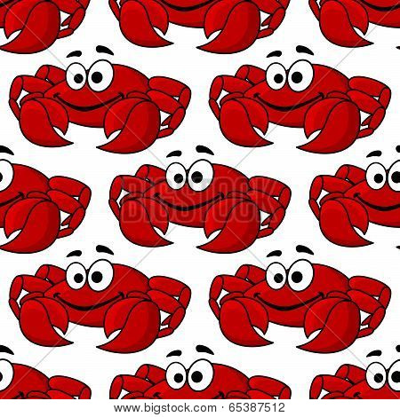 Seamless pattern of a cute happy red crab