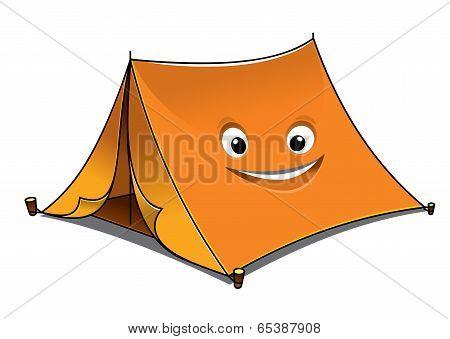 Cheerful cartoon orange tent
