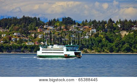 Ferryboat Passing By Scenic Landscape