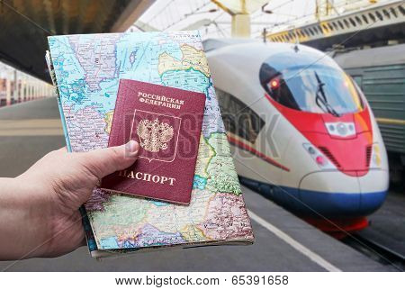 Russian Passport With A Map On The Background Of High-speed Train