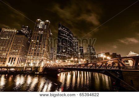 Chicago Night In Golden