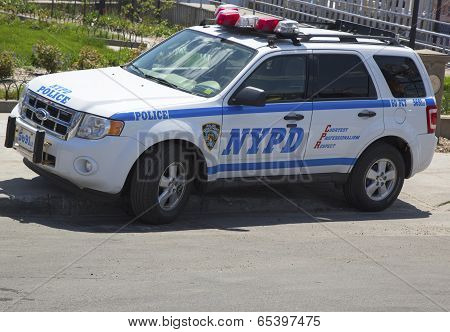 NYPD car providing security at Coney Island section of Brooklyn
