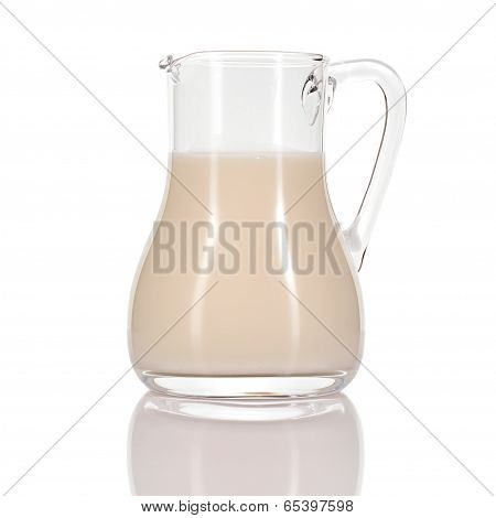 Almond Milk In Jug On White Background.