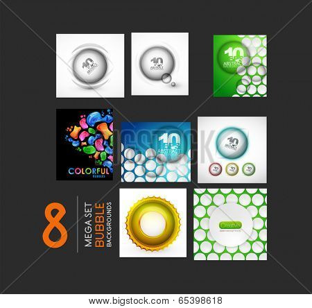 Vector mega collection of sphere and bubble designs - glossy shiny circles and glass flowing elements