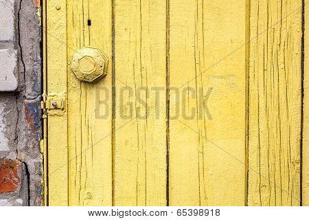 Old Weathered Door With Knob.