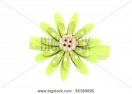 Green Of Artificial Flower Hairpin Isolated On White.