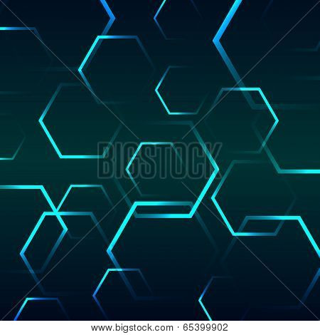 Abstract Background With Blue Hexagon