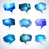 picture of prism  - Set of abstract speech bubbles or talk balloons of polygon prism pattern - JPG