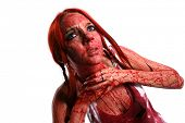 image of strangling  - Beautiful red hair girl covered in blood - JPG