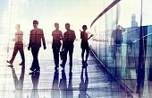 picture of city silhouette  - Silhouettes of Business People Walking in the Office - JPG