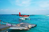 stock photo of hydroplanes  - Twin otter red seaplane at Maldives - JPG