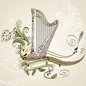 picture of lyre-flower  - sketch acoustic harp on a beige background - JPG
