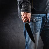 foto of murders  - Evil man with shiny knife  - JPG