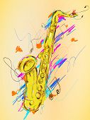 stock photo of saxophones  - Saxophone Painting Vector Art  - JPG