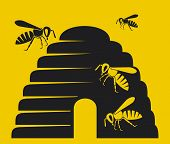 stock photo of beehives  - bees and beehive icon vector illustration on yellow background - JPG