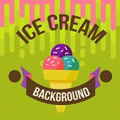 stock photo of ice cream parlor  - Retro ice cream poster - JPG