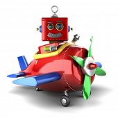 image of propeller plane  - Happy vintage toy robot sitting in a toy plane over white background - JPG