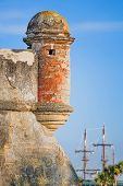 image of galleon  - A round corner sentry box on an old St - JPG