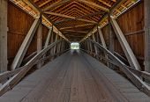picture of covered bridge  - The wooden supporting architecture of covered bridge is viewed from the inside - JPG