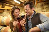 image of wine cellar  - Oenologists in wine cellar tasting red wine - JPG