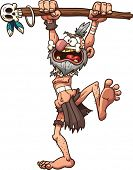 stock photo of clip-art staff  - Cartoon prehistoric witch doctor - JPG