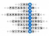 pic of potassium  - nutrition facts concept crossword puzzle - JPG