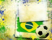 stock photo of brazil carnival  - Vintage photo of soccer ball and Brazil flag  - JPG