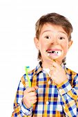 pic of tooth gap  - Little funny boy smiling through a magnifying glass - JPG