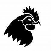 picture of black-cock  - Line art of cock on white background - JPG