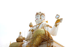 image of brahma  - lateral view statue of brahma on white background - JPG