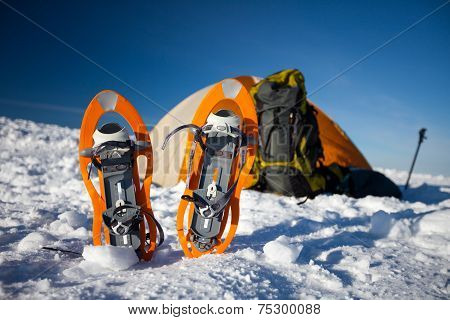 Camping During Winter Hiking In Carpathian Mountains