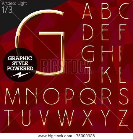 Vector illustration of pure golden font plus graphic styles. Artdeco light. File contains graphic styles available in Illustrator