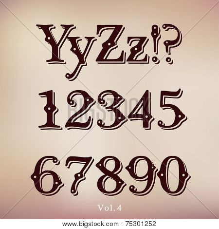 Retro Vintage Style Brown Chocolate Font. Set Vol.4