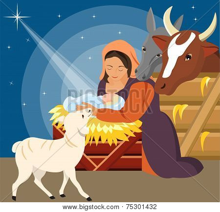 Christmas Christian nativity scene with baby Jesus