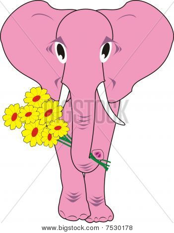 Pink elephant with flowers isolated
