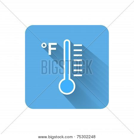 Flat Thermometer Icon. Fahrenheit Scale. Vector Illustration