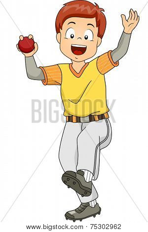 Illustration Featuring a Young Cricket Bowler