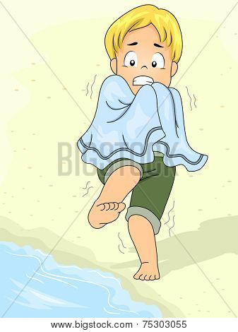 Illustration Featuring a Boy Afraid to Go Into the Water