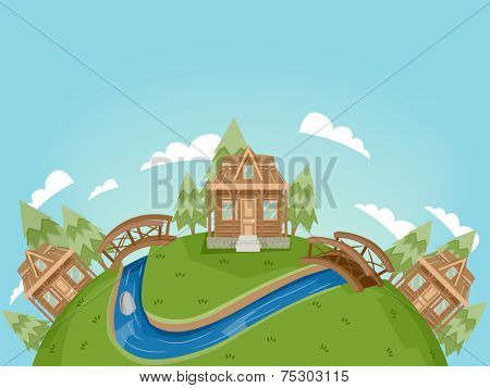 Illustration Featuring a Village Full of Log Cabins