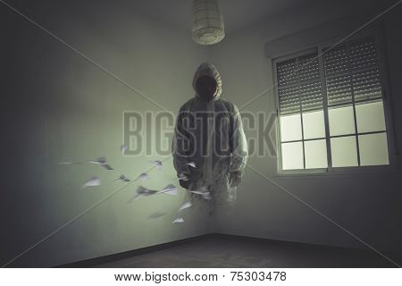 nightmare man with red mask in empty room