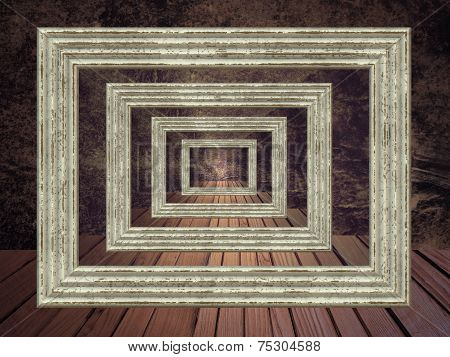 Grunge Abstract Background With Picture Frame Prospective.