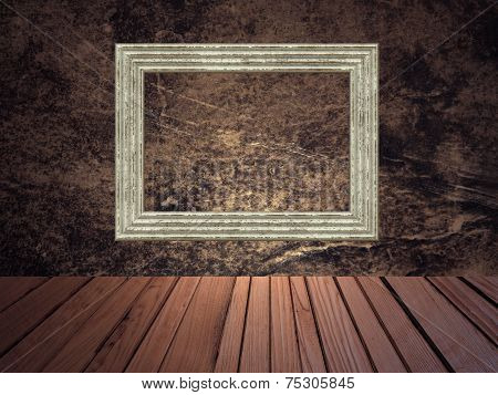 Grunge Abstract Background With Picture Frame.