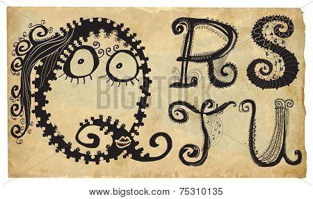 Curly Playful Alphabet - Hand Drawn Vector - Part: Q-u